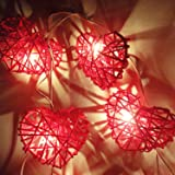 Red Heart Rattan String Party,Patio,Fairy,Decor,Living Room,Bedroom,Christmas,Wedding Lights