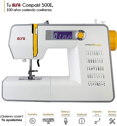 Alfa Compakt 500E-Maquina de Coser, Blanco y Amarillo: Amazon.es ...