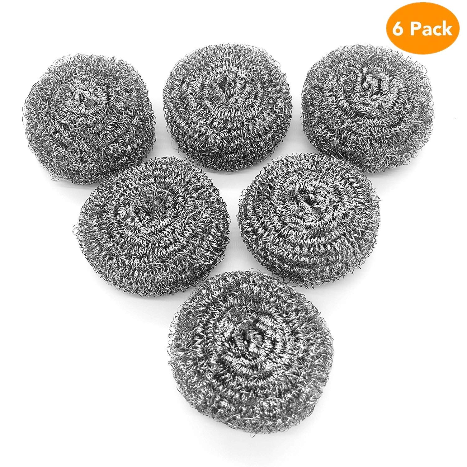 URSMART Stainless Steel Sponges,Stainless Steel Scrubber,Steel Wool Scrubber Pad for Tough Kitchen Cleaning - Metal Mesh Scourer for Dishes, Pots, Pans, Kitchen Cooking Utensil Cleaning Tools(6pcs)