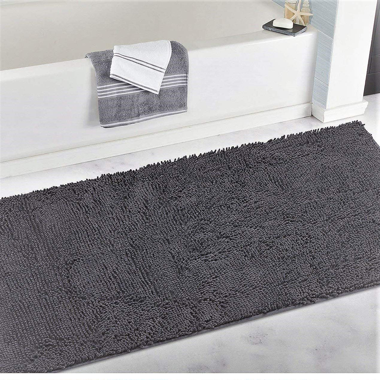 LuxUrux Chenille Bathroom Rug Mat Runner, Extra Soft Absorbent Large Shaggy Rugs, Perfect Plush Carpet Mats Tub, Shower Bath Room, Machine Wash/Dry (Dark Blue, 27'' x 47'') 27'' x 47'')