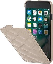 """StilGut UltraSlim Case, custodia verticale in pelle cover per iPhone 7 (4,7""""). Chiusura clip in alto Flip-Case in vera pelle, Crema Nappa, Carato"""