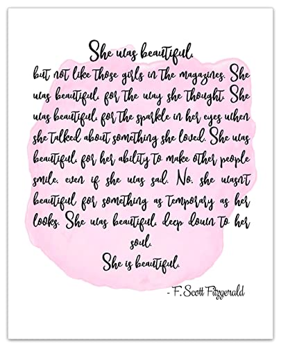 e2f17c3f She Was Beautiful Art Print - F Scott Fitzgerald Poster Print Art - Love  Quotes - Inspirational Gallery Wall - Office and Home Decor Wedding Gift 8  x 10 ...