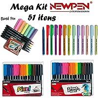 Kit Newpen Caneta Brush + Pixel + Marca Textos - Mega Kit