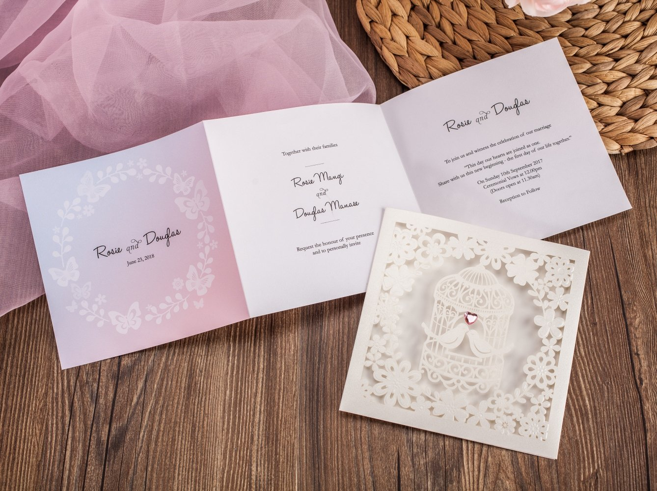 Wishmade 100x Laser Cut Love Bird Heart Wedding Invitations Cards With Matched RSVP and Thank You Card CW6113 by Wishmade