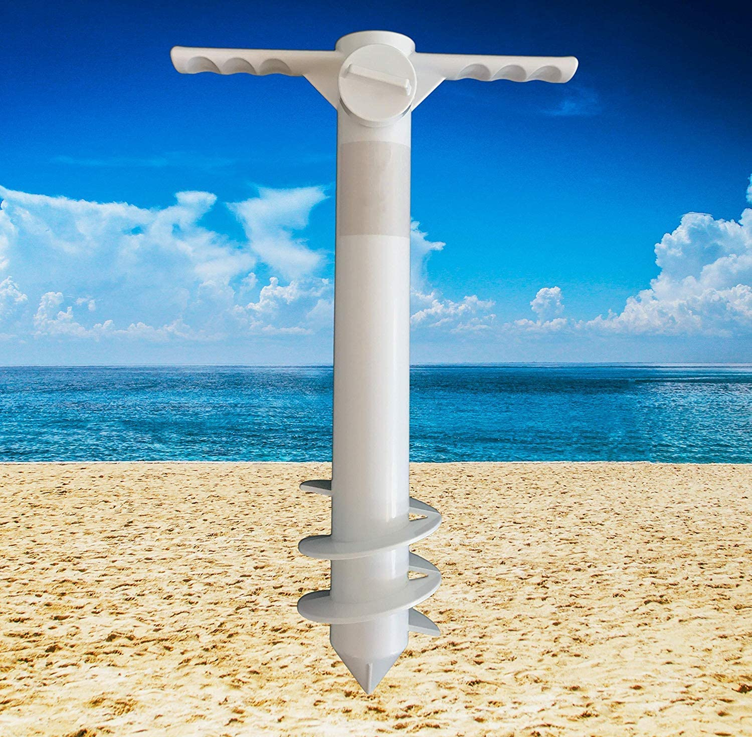 Parasol Screw Sand Anchor Stand Holder Umbrella Sand Anchor /& Hanging Hook Secure Stand Holder for Strong Wind Outdoors