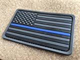 2 Pack 2x3.5 3D PVC Rubber Thin Blue Line US USA