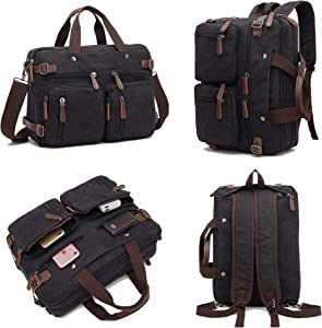 Yamaz Laptop Business Briefcase 17 Inch Multi-Functional Computer Messenger Bag Durable Waterproof Large Capacity for A Laptop Bag and Travel Bag Ideal for Work or Hiking Trips. (black)