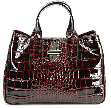 71b50e20e8acf Belli Echt Leder Handtasche Damen Ledertasche Umhängetasche Henkeltasche in  bordeaux lack Kroko Prägung - 36x25x18 cm