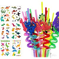 Dinosaur Drinking Plastic Straws+Dinosaur Temporary Tattoos for Kids Birthday Hawaiian Party Decorations Dinosaur Themed…