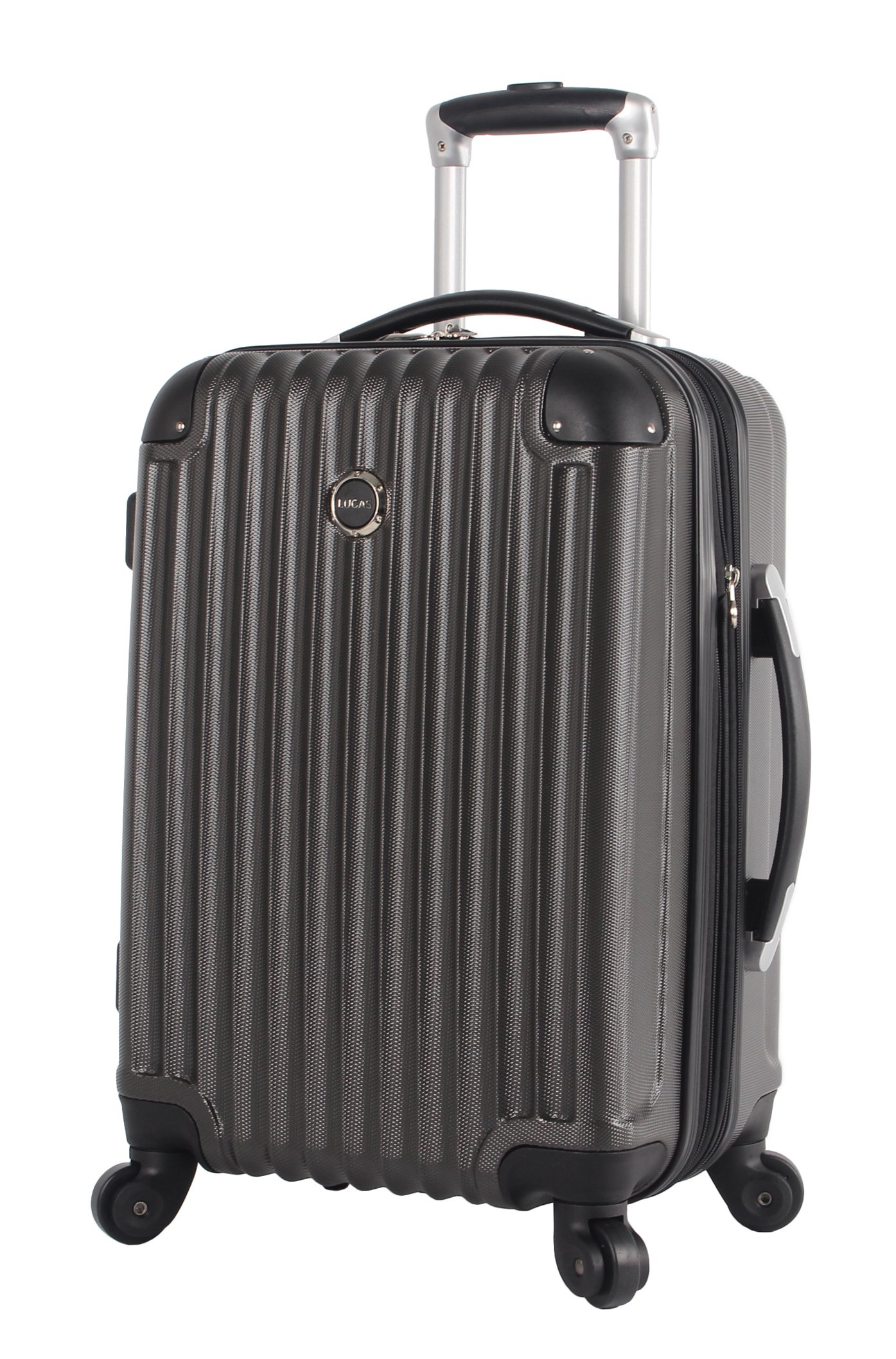 Lucas Outlander Carry On Hard Case 20 inch Expandable Rolling Suitcase With Spinner Wheels (20in, Graphite)