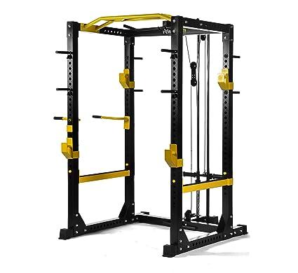 powergym Fitness Comercial de rack jaula de sentadillas: Amazon.es ...