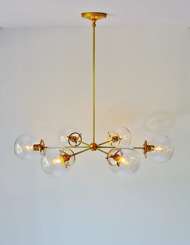 Amazon com brass chandelier with clear glass orb globe shades 6
