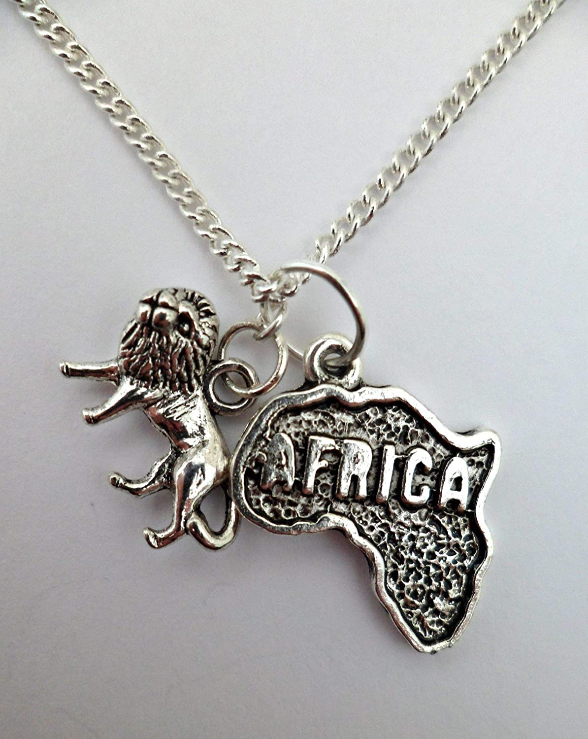 Silver Necklace Africa Map Lion Pendant