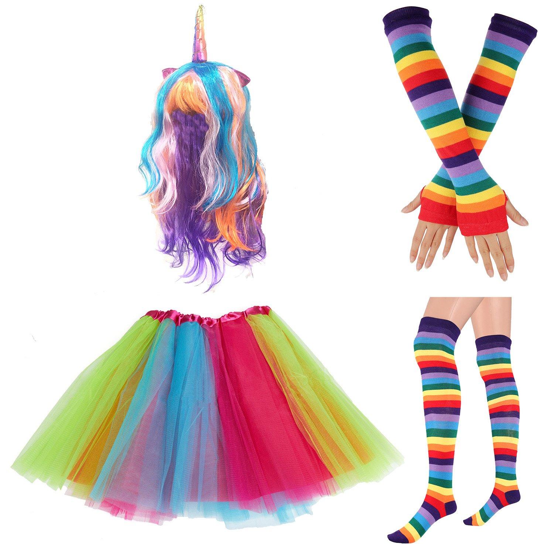 8cc48774e8b Packet include  1 x Tutu Skirt  1 x Rainbow Long Gloves   1 x Rainbow Socks   1 x Rainbow Adjustable Suspenders w Bow-tie  (1 x Unicorn Headband or 1 x  ...