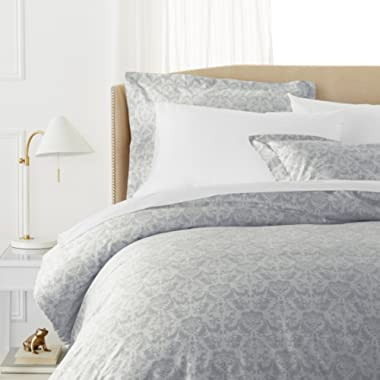 Pinzon Paris Printed Egyptian Cotton Sateen Duvet Set - King, Light Gray