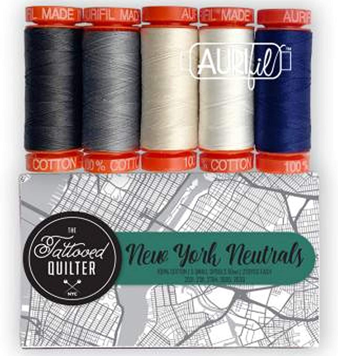 Aurifil Thread 50 wt Cotton 5 Small spools New York Neutrals by Tattooed Quilter