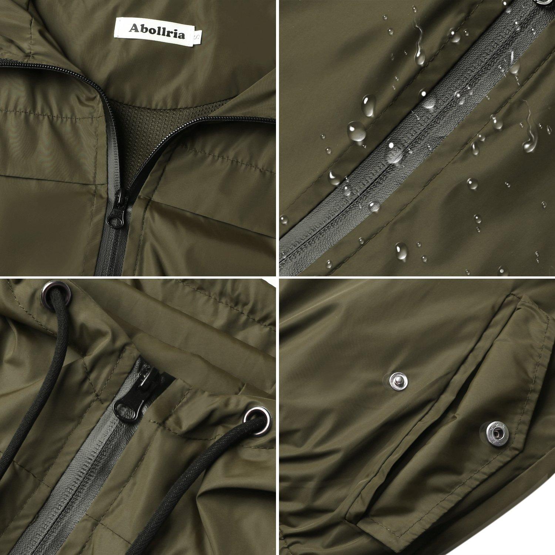 Abollria Damen Regenjacke Leichte Kurze Jacke mit Atmungsaktiv Futter Herbst wasserdichte /Übergangjacken mit Kapuze