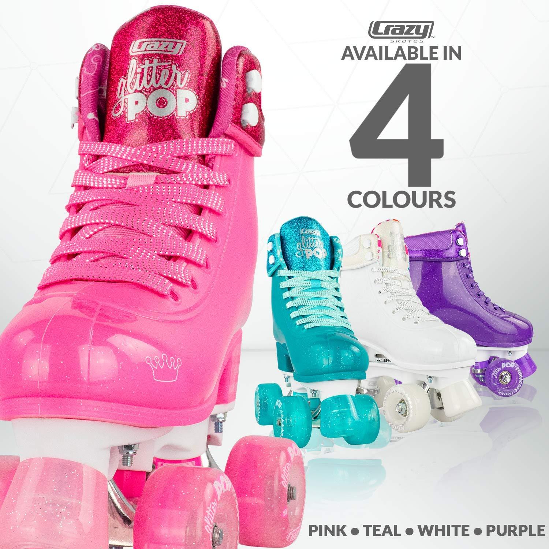 Crazy Skates Glitter POP Adjustable Roller Skates for Girls and Boys | Size Adjustable Quad Skates That Fit 4 Shoe Sizes | Pink (Sizes jr12-2) by Crazy Skates (Image #4)