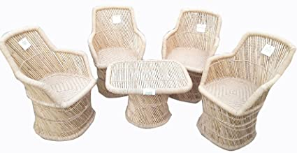 Ecowoodies Aeonium Bamboo Chair Outdoor Furniture Set (Beige : 4 Chairs + 1 Table)