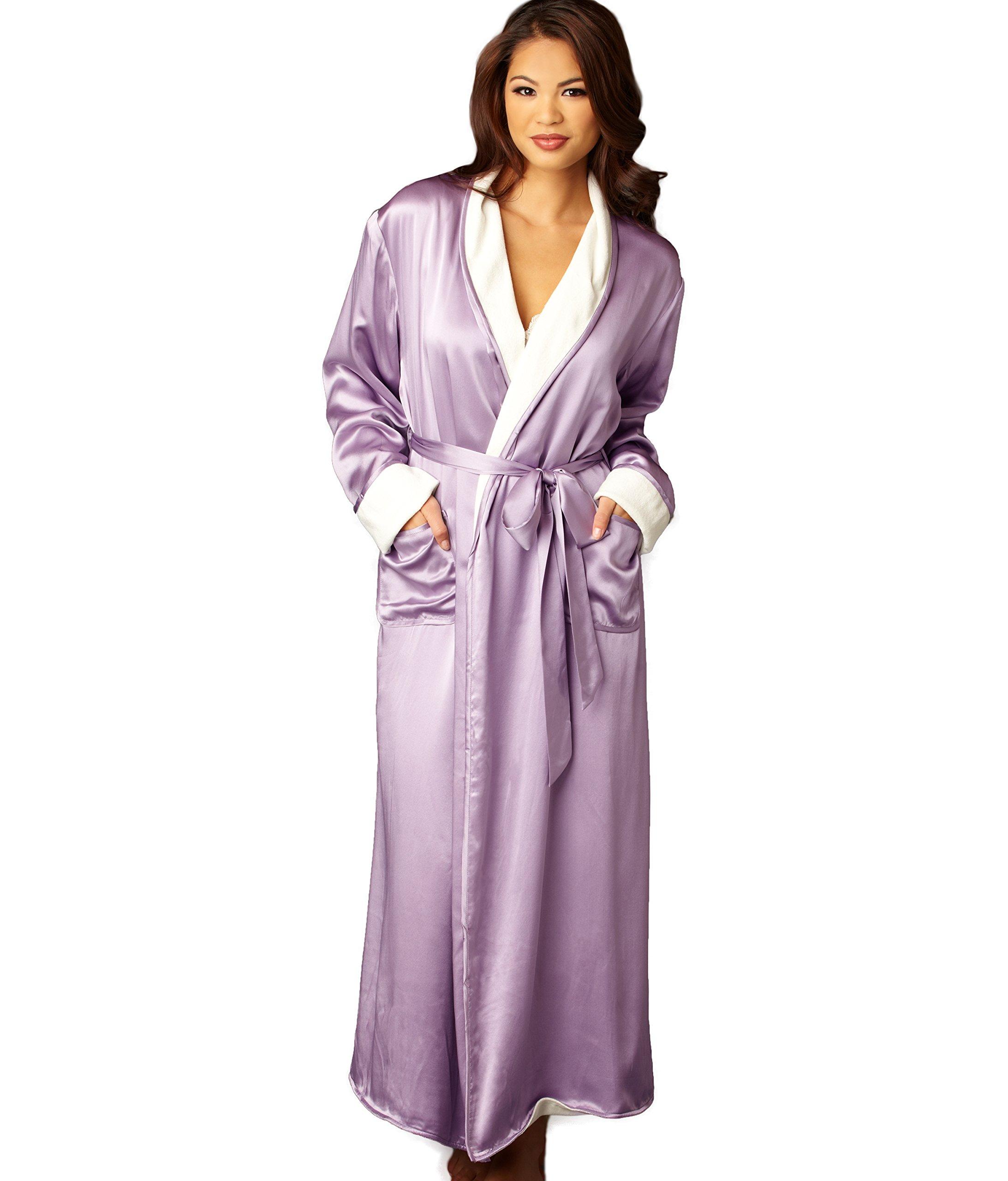 Julianna Rae Women's 100% Silk, Il Cieli Spa Robe, Amethyst, XS