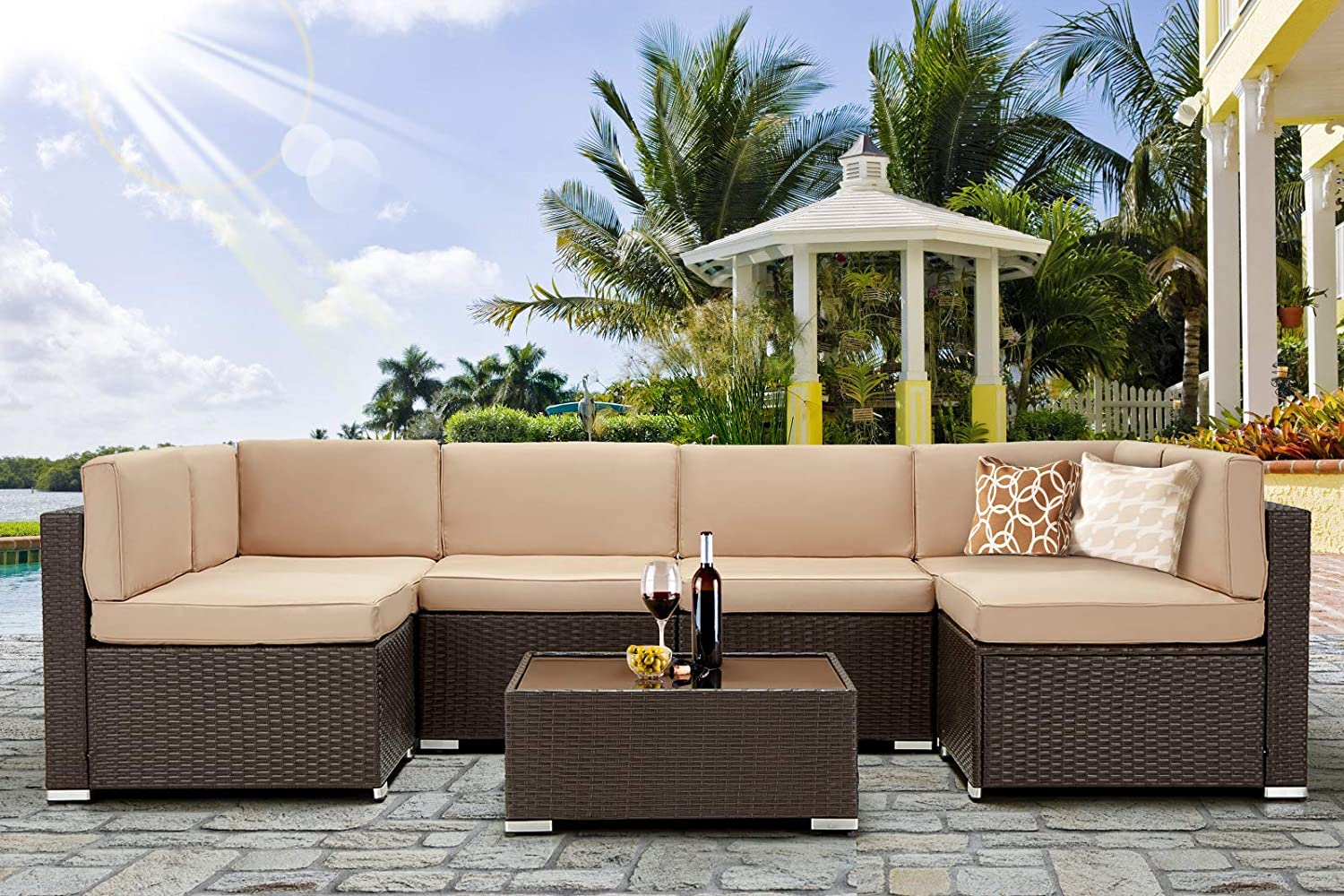 U Max 7 Piece Outdoor Patio Furniture Set Pe Rattan Wicker Sofa Set Outdoor Sectional Furniture Chair Set With Khaki Cushions And Tea Table Brown Garden Outdoor