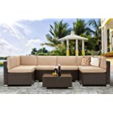 U-MAX 7 Piece Outdoor Patio Furniture Set, PE Rattan Wicker Sofa Set, Outdoor Sectional Furniture Chair Set with Khaki Cushio