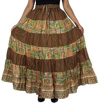 Indianbeautifulart 7 Panel de Pura Seda Larga Falda con Vuelo de ...