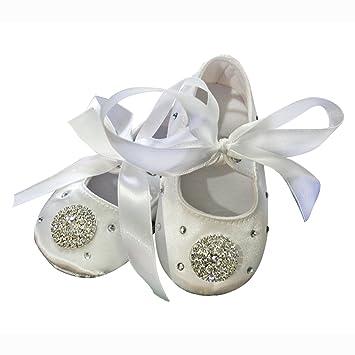 28fdcef51a33eb Amazon.com   White Satin Rhinestone Infant Baby Girl Christening Baptism  Shoes Wedding Party Flower Girl Shoes (Flower White