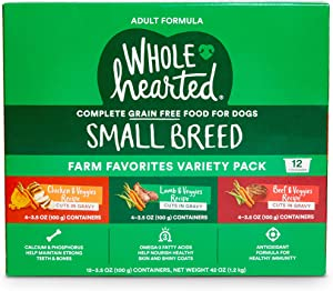 WholeHearted Grain Free Cuts in Gravy Adult Wet Dog Food Variety Pack, 3.5 oz., Count of 12