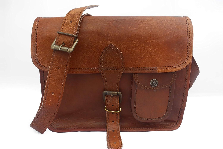 Genuine leather Brown Shoulder Messenger Bag for iPad, Unisex Satchel Cross body Bag (9 x 11)