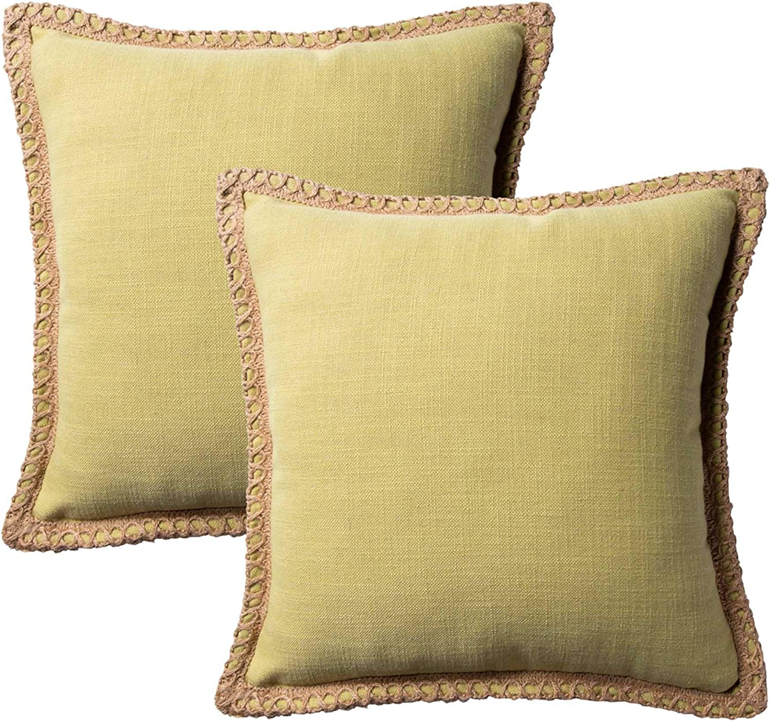 Azume Set of 2 Decorative Throw Pillow Covers Burlap Linen Trimmed Edges Modern Farmhouse Cushion Cover for Couch, Sofa, Chair, Living Room, 18 x 18 inches, Green