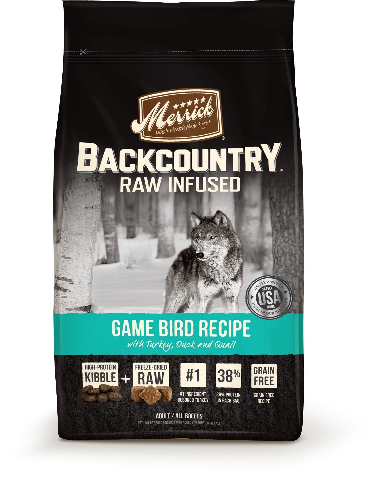 Merrick Backcountry Grain Free Raw Infused Game Bird Dry Dog Food, 22 lbs.