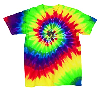 1ba02135460b Amazon.com: Rainbow Swirly Multi-Spiral Unisex Adult Tie Dye T-Shirt Tee:  Clothing