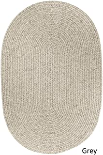 product image for Rhody Rug Woolux Wool Oval Braided Rug (5' x 8') - 5' x 8' Oval Light Grey