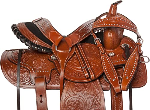 Acerugs Western Pleasure Trail Horse Leather Saddle TACK Endurance 15 16 17 18 Bridle REINS Breast Collar