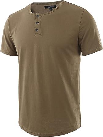 HETHCODE Men's Classic Comfort Soft Regular Fit Short Sleeve Henley T-Shirt Tee