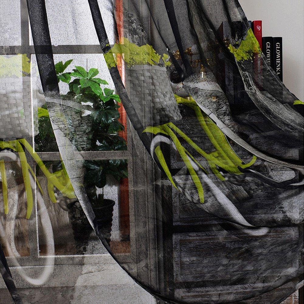 Cortinas del Dormitorio de los Ni/ños Cortinas de Tela de Lino con Patr/ón de Bicicleta Impreso Paneles de Cortina Transparente para Dormitorio Sala de Estar Balc/ón 2 Uds,Blue,100x270cm//39 x106