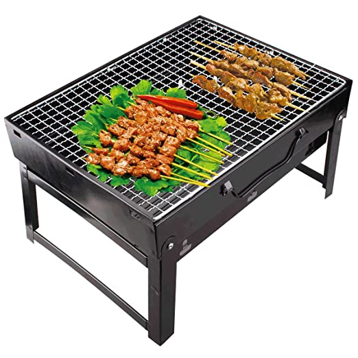 Maharaj Mall Folding Portable Charcoal BBQ Barbecue Grill Broiler (Black, Standard)
