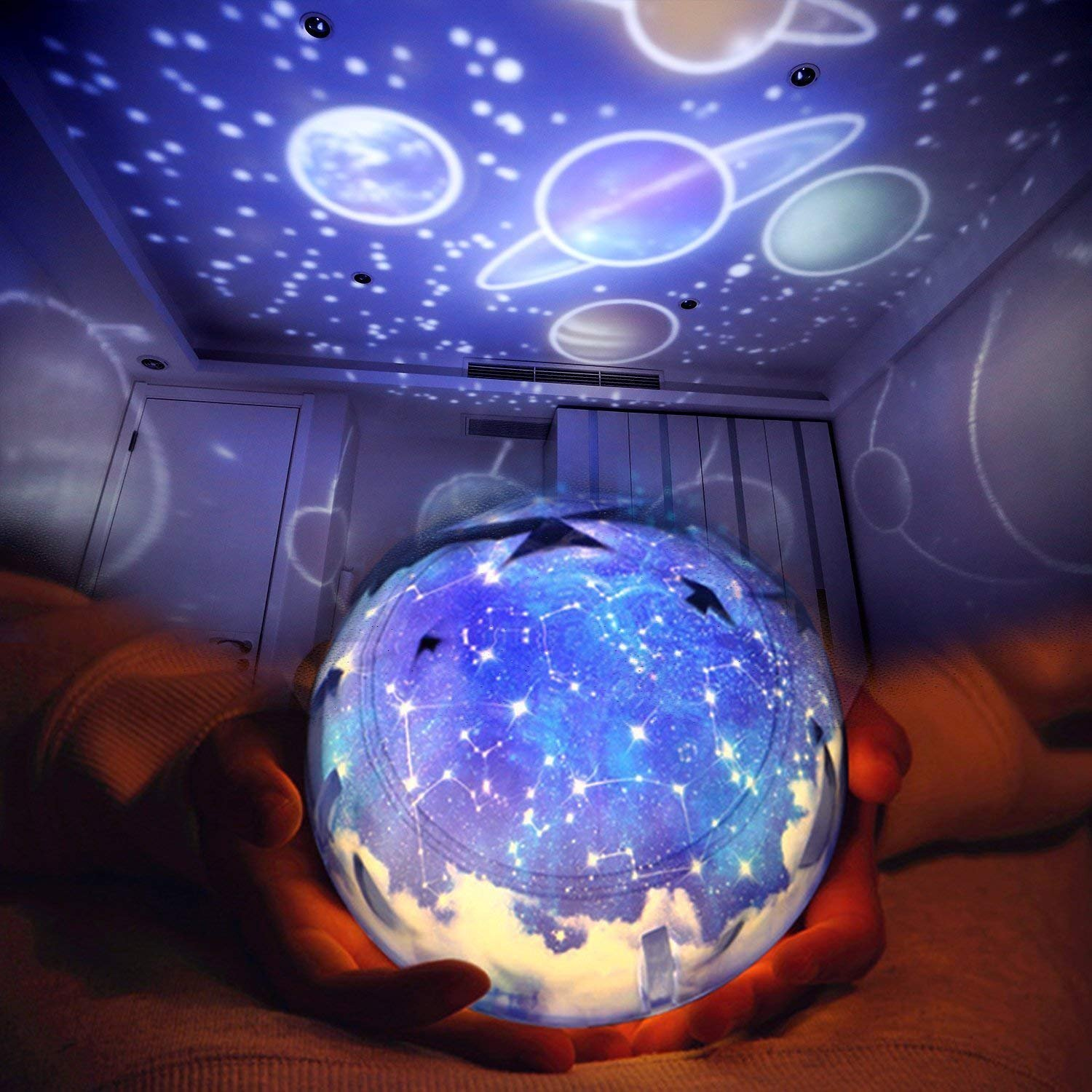 Luckoney Star Night Light for Children, Universe Projection Lamp for Kids' Bedroom, Romantic Rotating Star Sea LED Lamp for Baby Nursery, Best Birthday Christmas Gifts - 5 Sets of Film