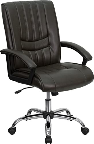 Flash Furniture Mid-Back Espresso Brown LeatherSoft Swivel Manager's Office Chair