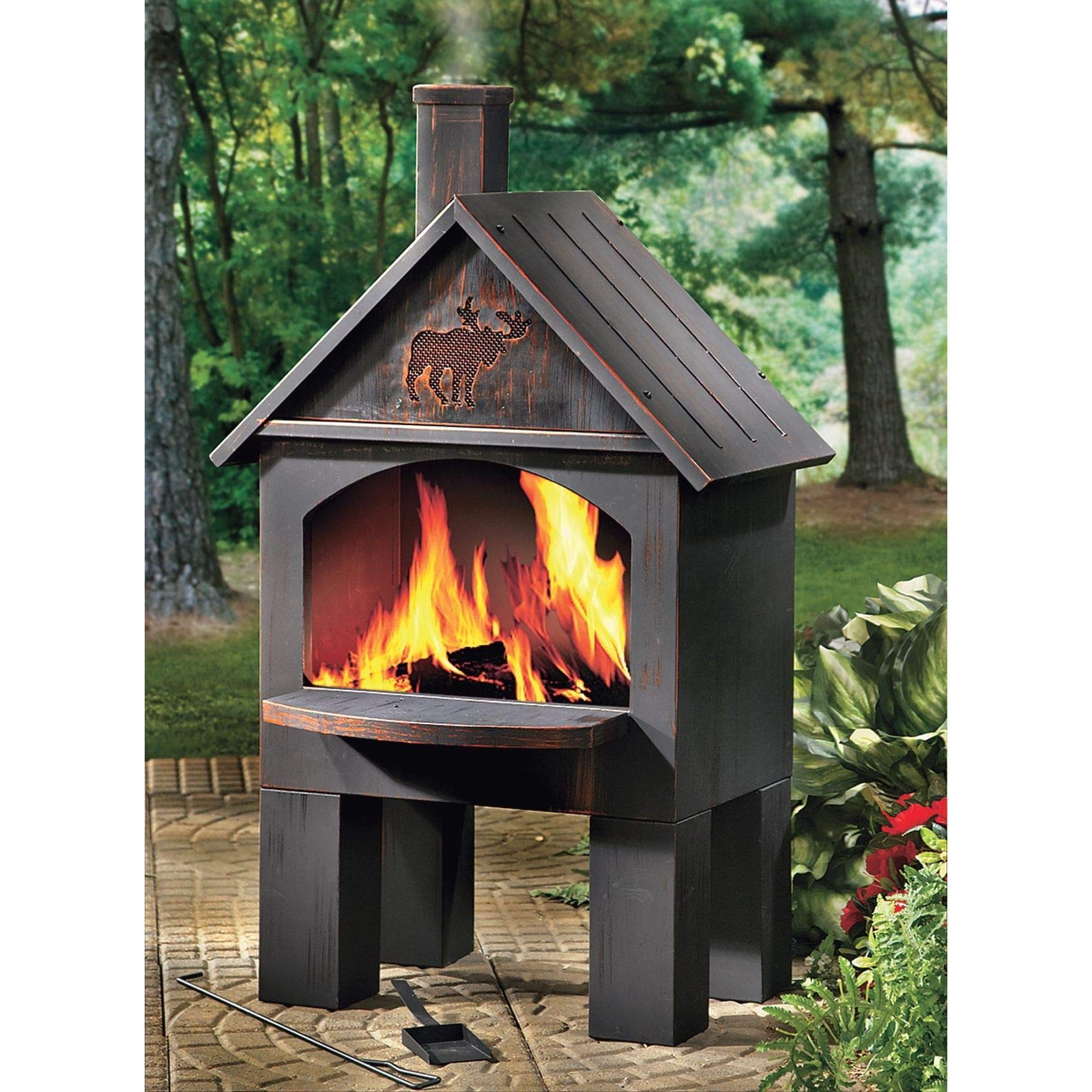 Nice1159 Cabin-Style Outdoor Cooking Baking Steel Wood Charcoal Fireplace Chimenea, Moose 20W x 25D x 43H (Only 3 pcs Left) by Nice1159