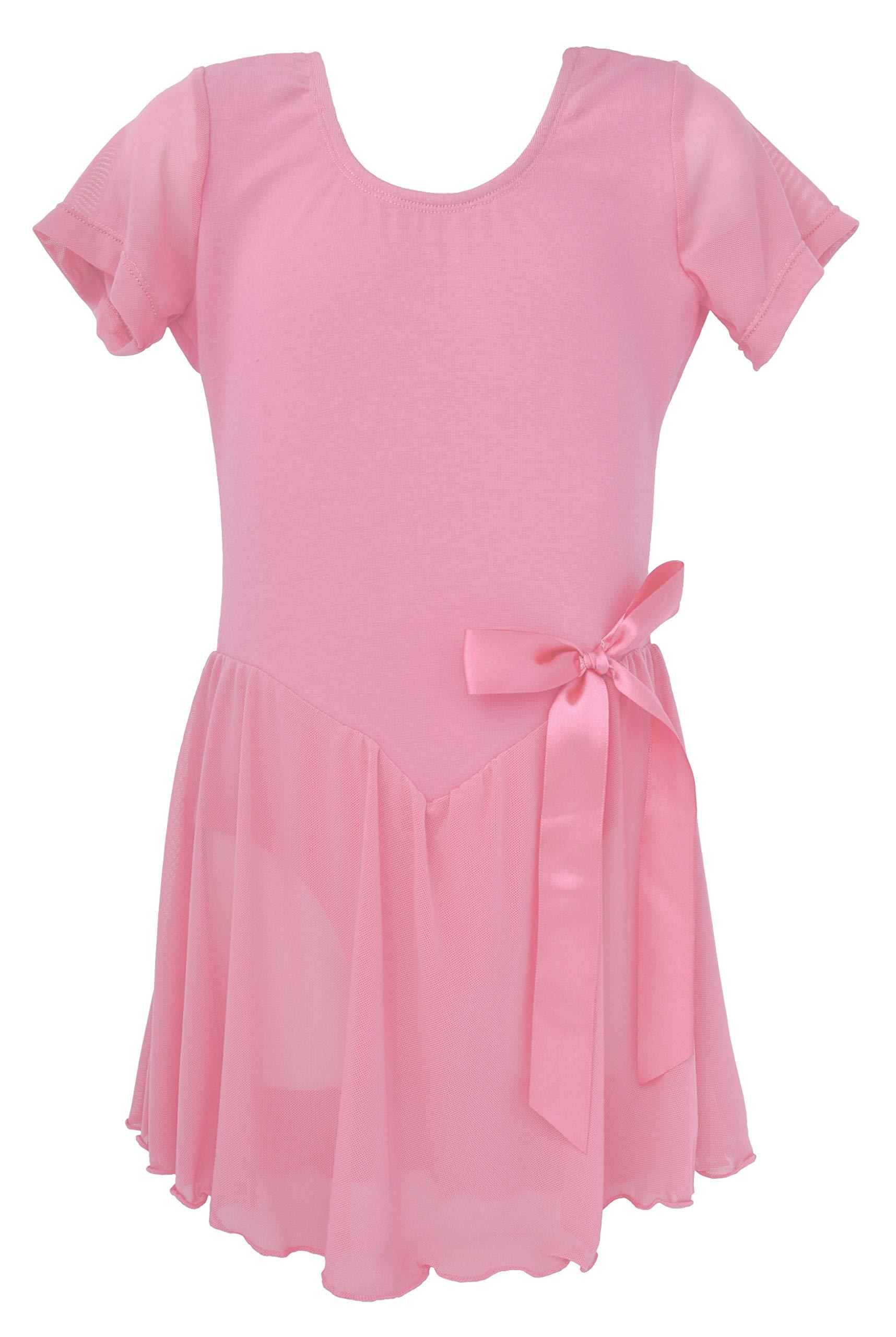 Dancina Toddler Leotard Dress Short Sleeve Full Front Lining 2-3T LightPink by Dancina (Image #1)