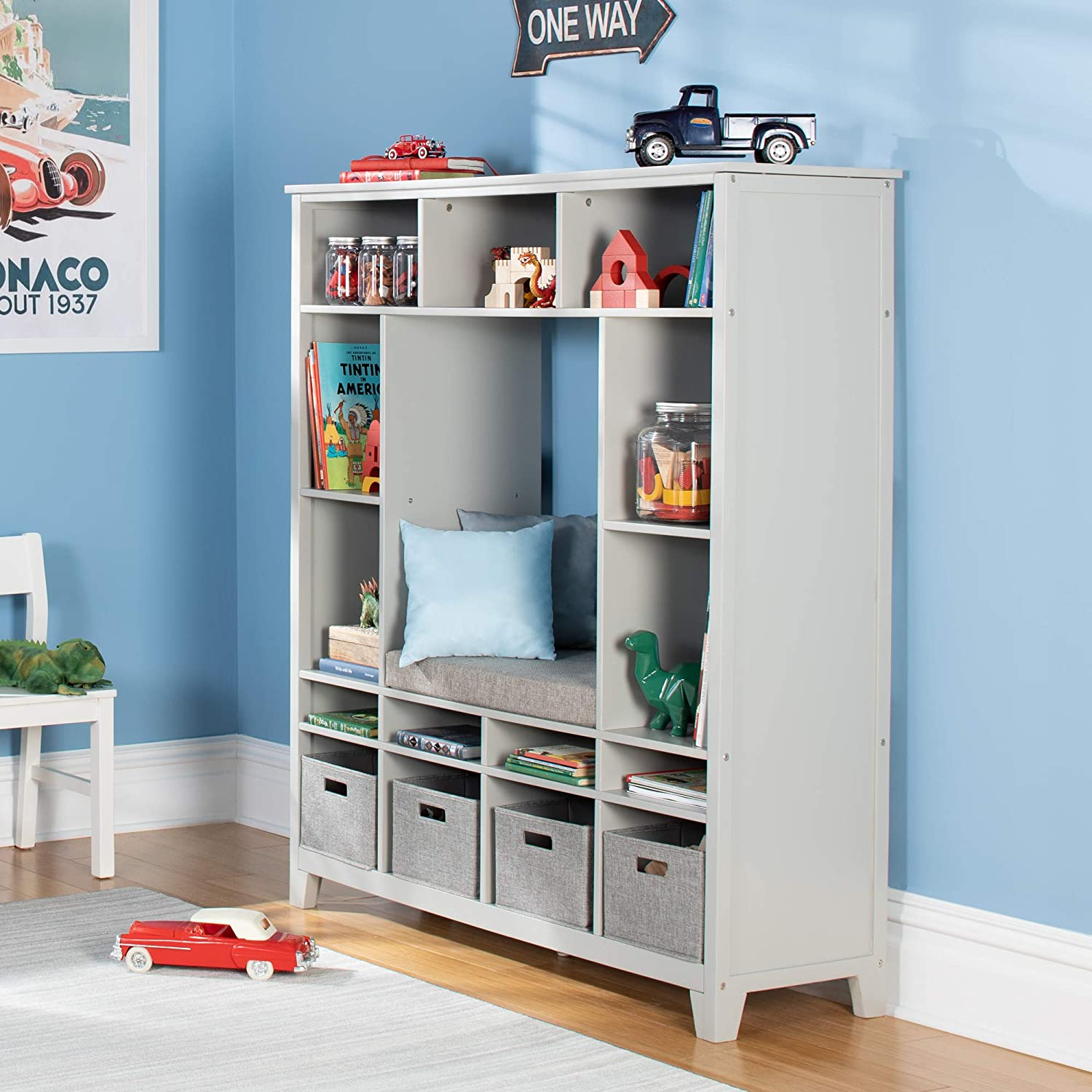 Martha Stewart Living and Learning Kids' Storage System (Gray) – Wooden Cubby with Removable Seat Cushion and Storage Bins; Reading Nook Bookcase and Bedroom Organizer