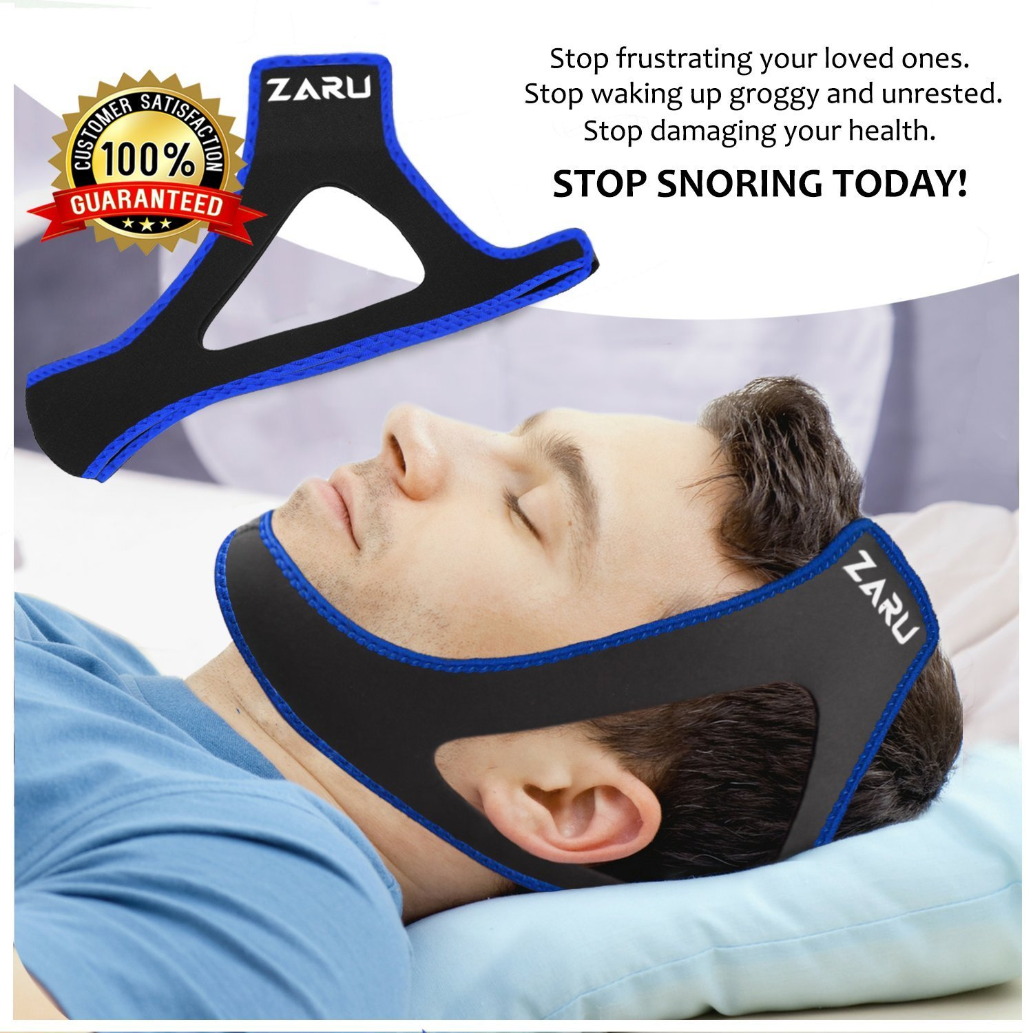 Premium Anti Snore Chin Strap by ZARU (2018 New Version) - Advanced Snoring Solution Scientifically Designed to Stop Snoring Naturally and Give You The Best Sleep of Your Life!