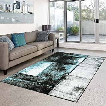 Amazon.de: Teppich Moda Flachflor modernes abstraktes Design türkis ...