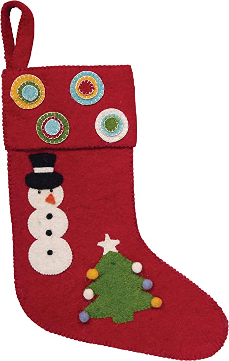 Creative Co Op Appliqued Wool Felt Snowman Tree Stocking Red Home Kitchen