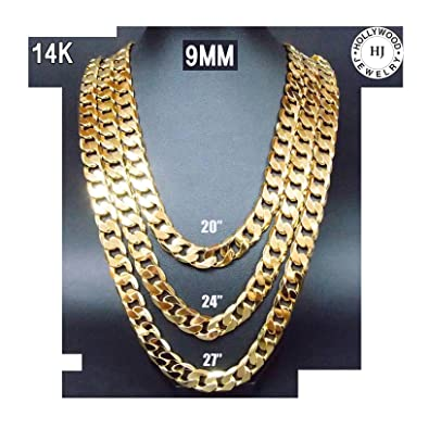 copy solid gold cuban yellow chains curb link chain dsc miami