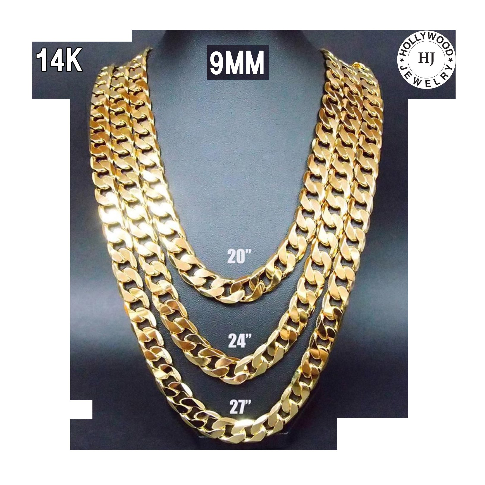 22 inch 14k gold chain cuban necklace men 9mm link w real. Black Bedroom Furniture Sets. Home Design Ideas