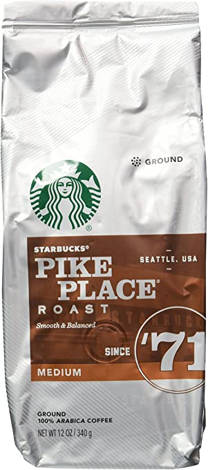 Pikes Peak Coffee >> Amazon Com Starbucks Medium Pike Place Roast Coffee Ground 12 Oz