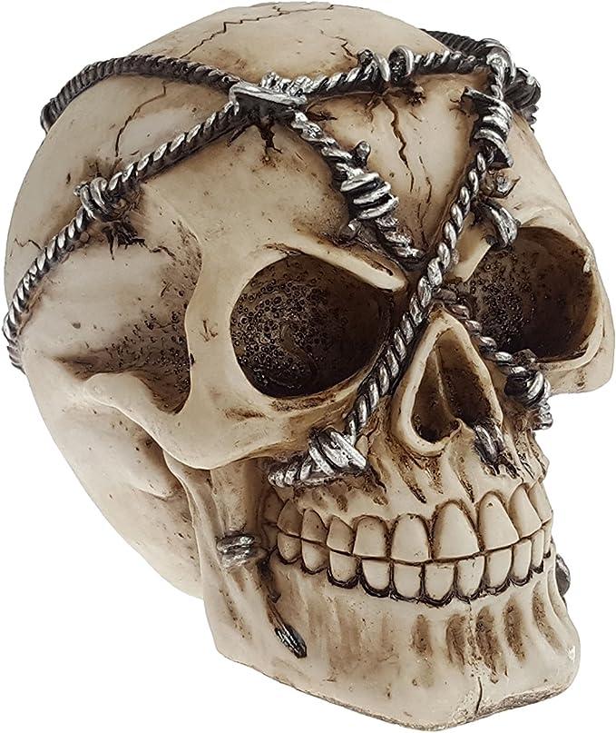 Halloween Totenkopf Totenschädel platin-metallic aus Resin Spardose Horror-Party